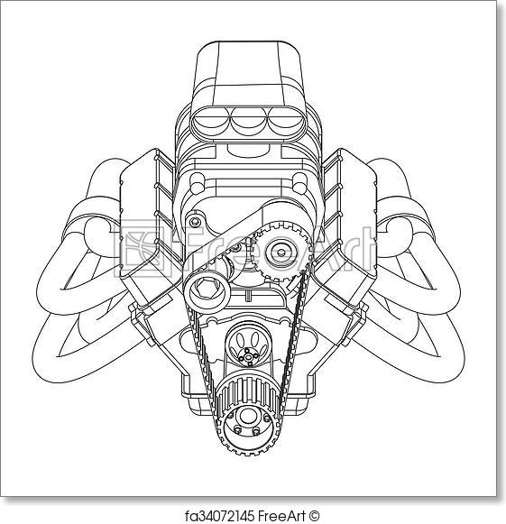 561x581 Free Art Print Of Hot Rod Engine. Schematic Drawing Of Hot Rod