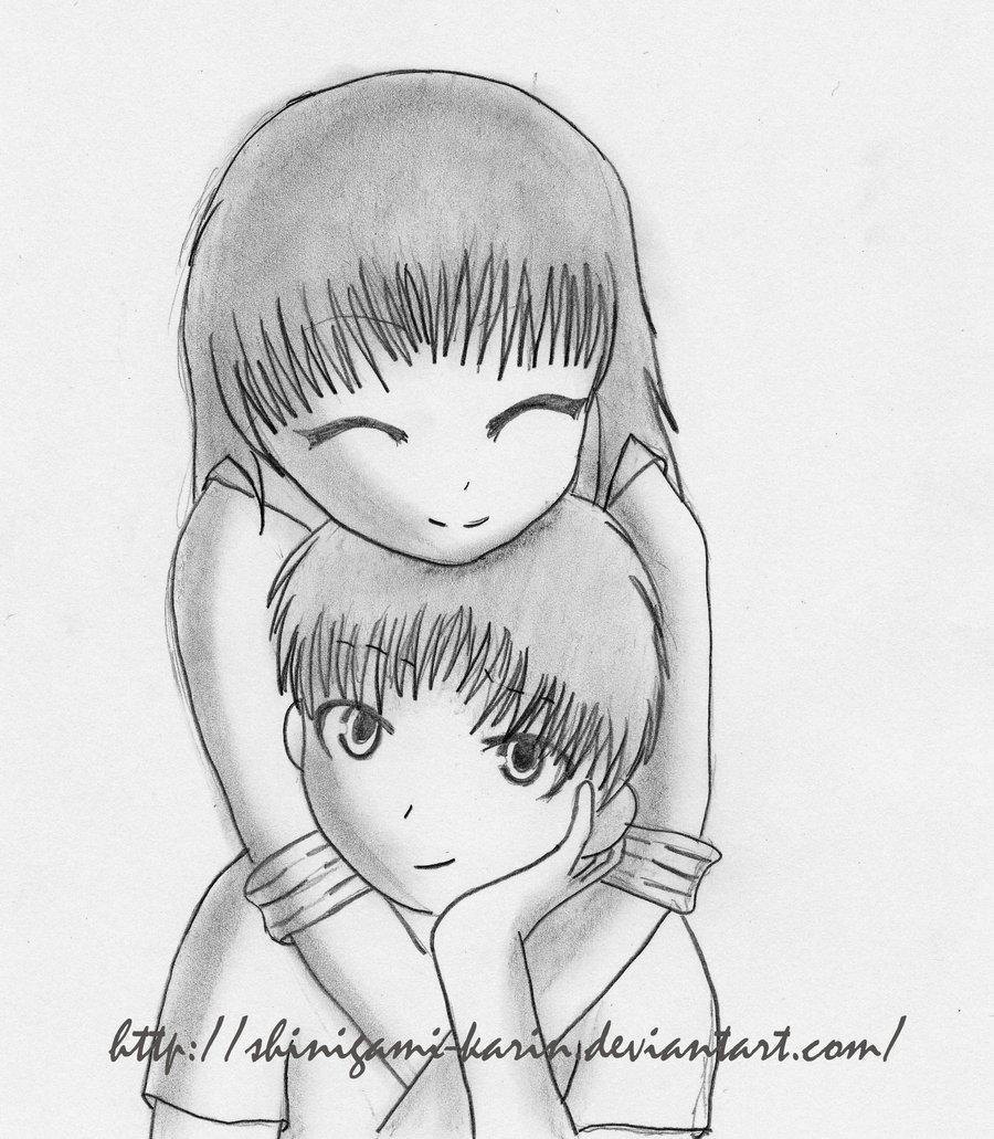 900x1031 Romantic Cartoon Couple Drawing Anime Coupleshinigami Karin