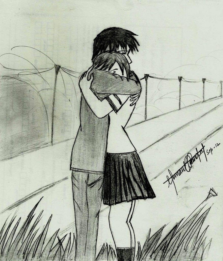 877x1024 Photos Pencil Sketches Of Romantic Couple,
