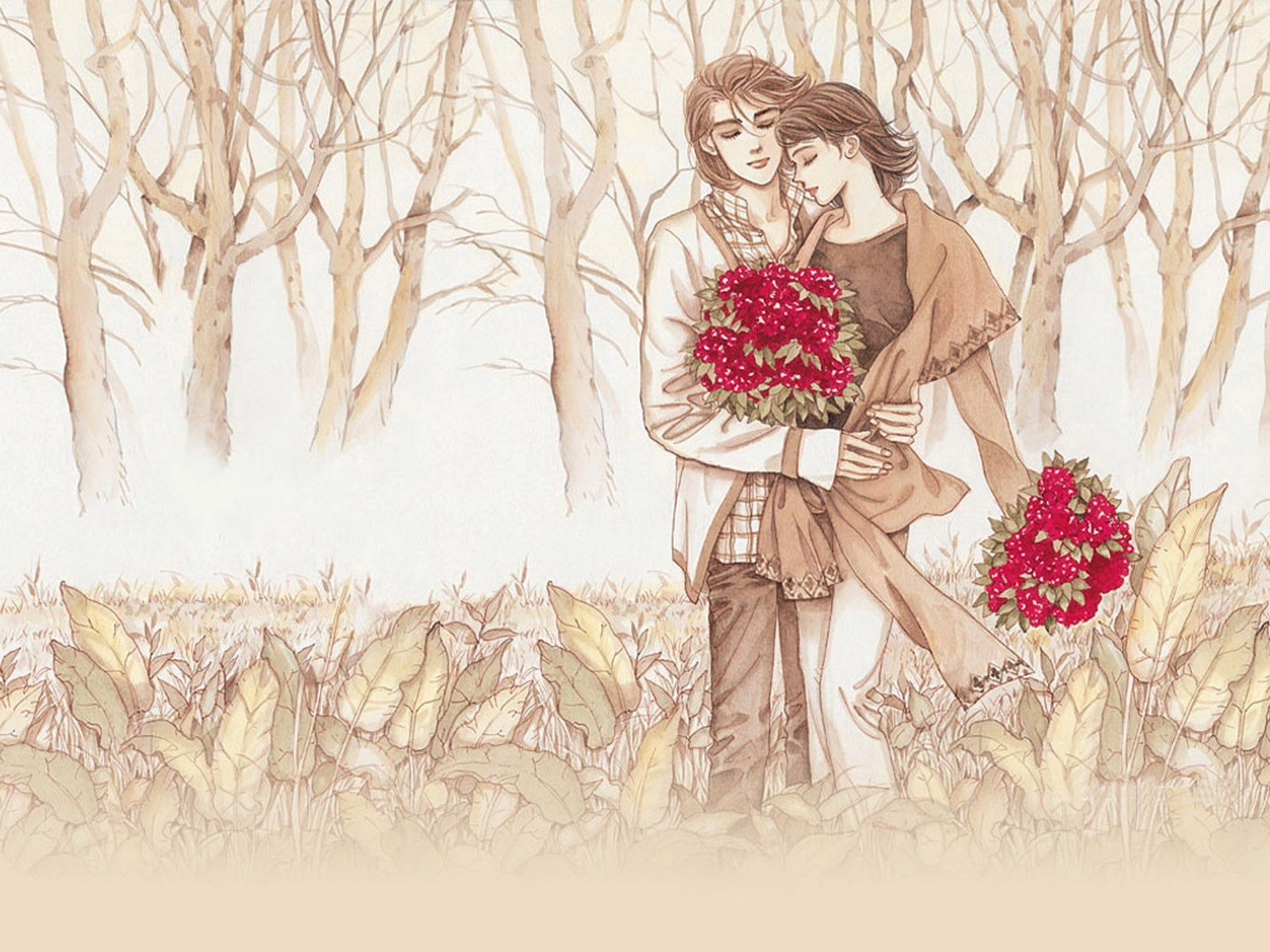 1600x1200 Romantic Couple Drawing With Red Flower Wallpaper Hd Wallpapers