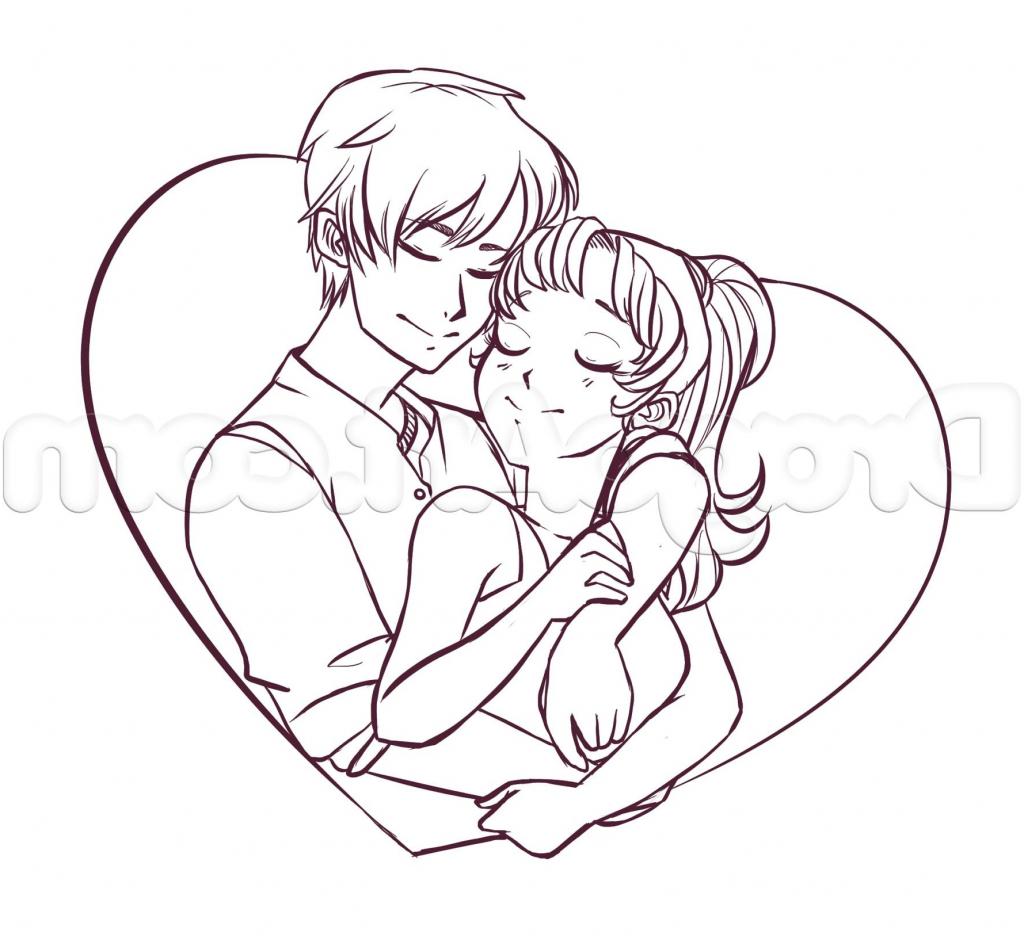 1024x936 Drawing Of Couple In Cartoon Romance Anime Cartoons Romantic