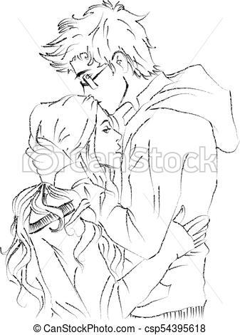 337x470 Romantic Young Couple Kissing Vector Clip Art