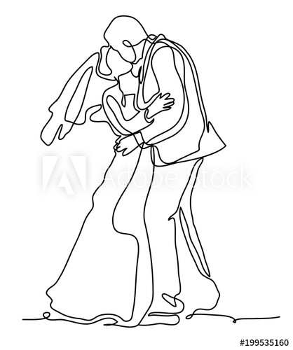 418x500 Bride And Groom, Kissing Romantic Married Couple. Continuous Line