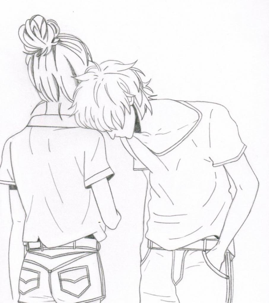 907x1024 Cartoon Couple Drawing Cute Love Drawings Pencil Art Hd Romantic