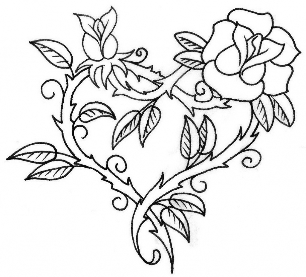 1024x929 Rose Flower Outline Drawing Drawing Pictures Of Flowers