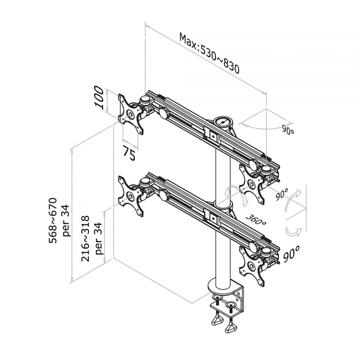 1200x1200 Newstar Flatscreen Desk Mount 10 30, Clamp, 4 Screens, 1 Pivot