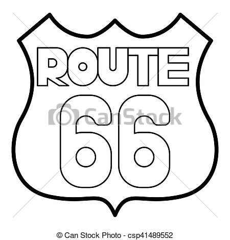 450x470 Route 66 Shield Icon, Outline Style. Route 66 Shield Icon. Outline