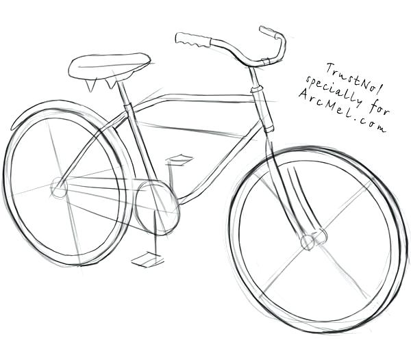 600x516 How To Draw A Bike And How To Draw A Bike Step 3 Draw Bike Route