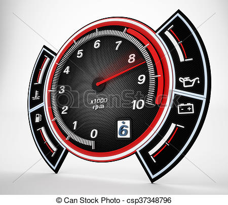 450x405 Engine Rpm Gauge. 3d Illustration. Engine Rpm Gauge With Stock