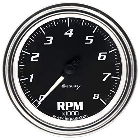 450x450 Equus 7068 3 38 Tachometer, Chrome With Black Dial