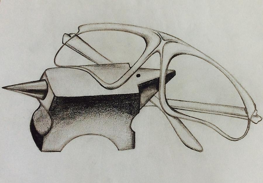 900x627 Jeweller's Anvil And Safety Glasses Drawing By Michell Rosenthal
