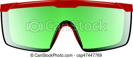 450x196 Plastic Safety Goggles Isolated On White. Red Plastic Clip Art