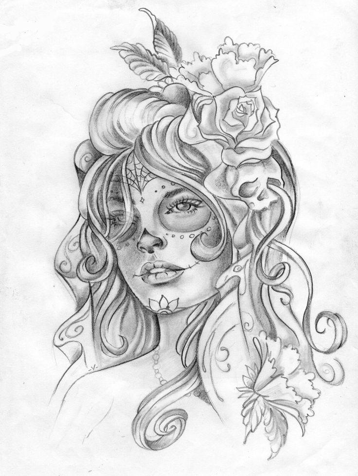 Santa Muerte Tattoo Drawing