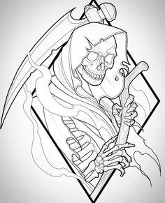 Art Grim Reaper Tattoo And Santa Muerte