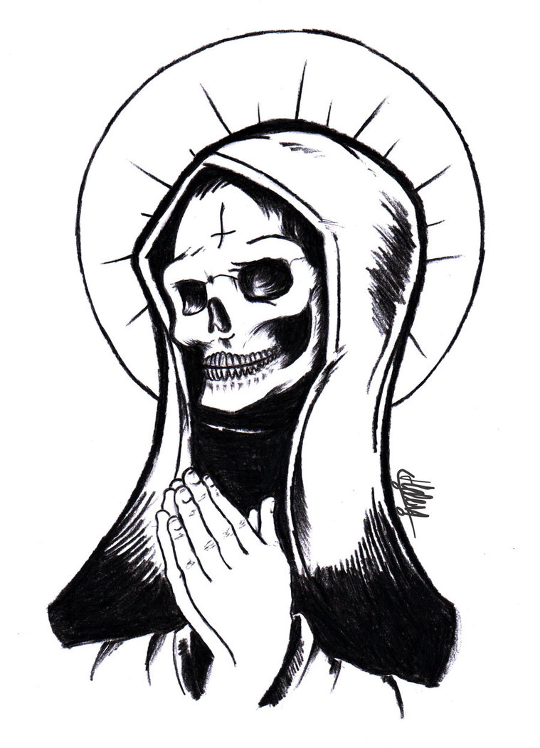759x1052 Collection Of Santa Muerte Drawing High Quality, Free