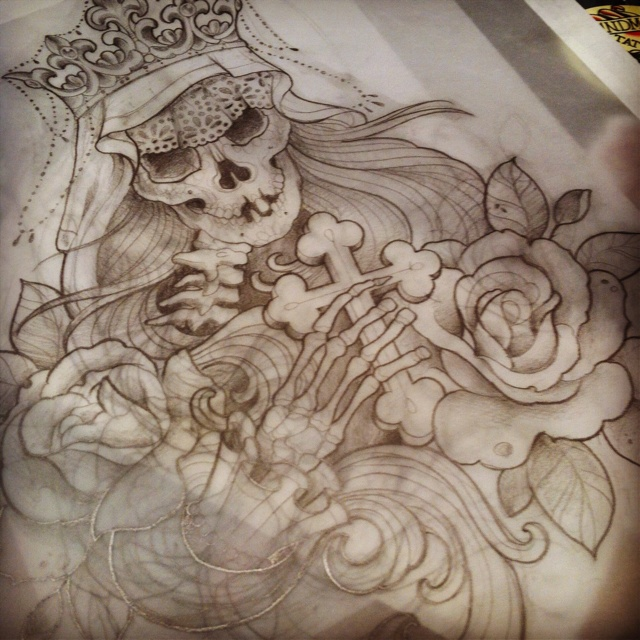 640x640 Collection Of Santa Muerte Tattoo Drawing High Quality, Free