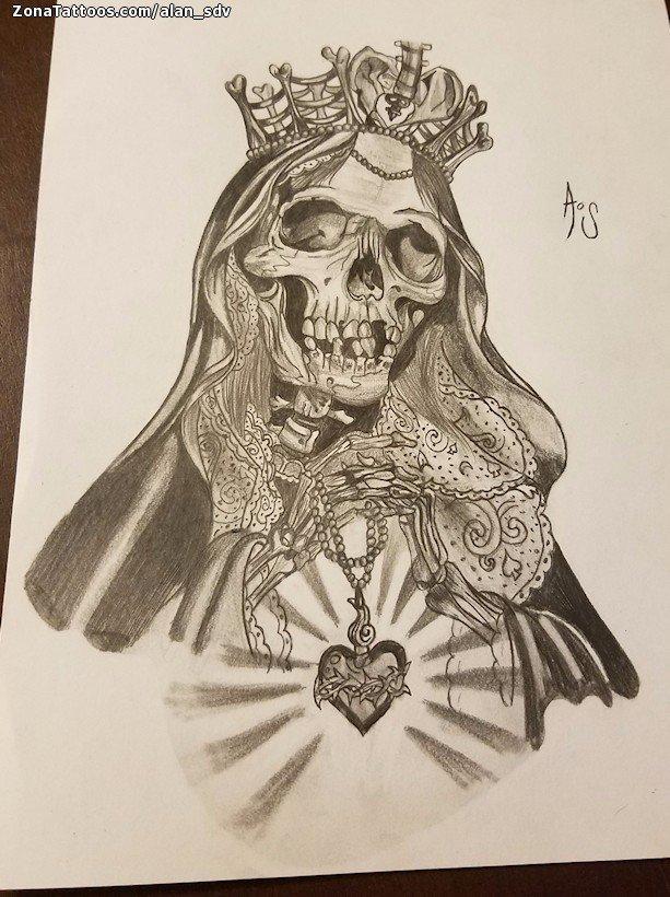 Santa Muerte Tattoo Drawing at GetDrawings.com | Free for personal ...