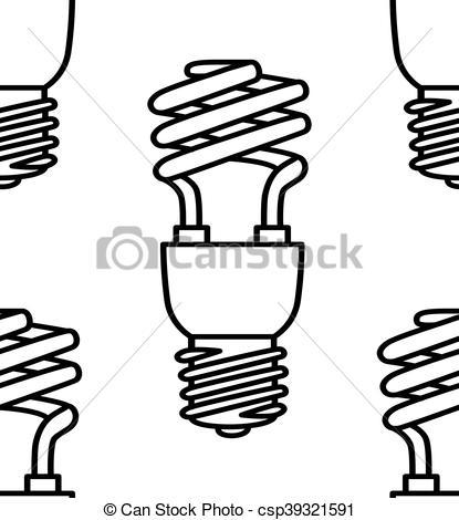 415x470 Energy Saving Light Bulbs Seamless Pattern. Vector. Energy Eps