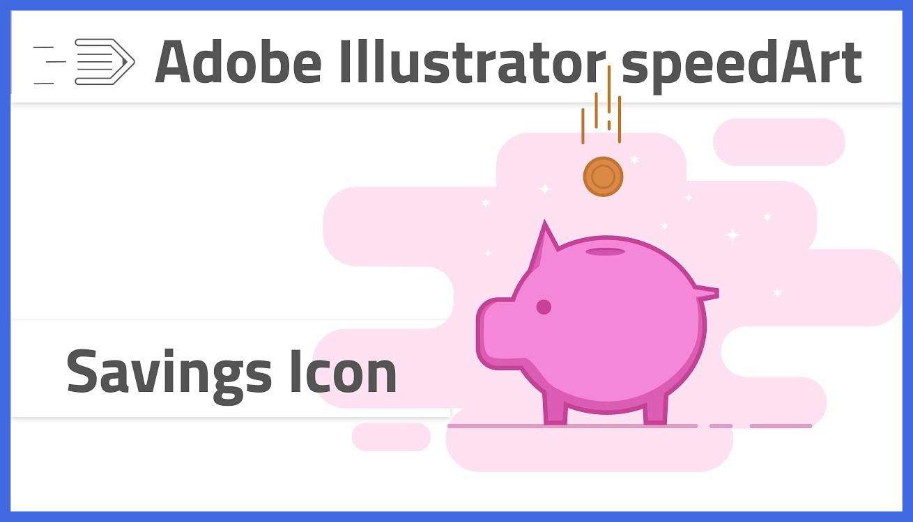 1310x750 Appealing Drawing Savings Icon In Adobe Illustrator Cc Piggy Bank