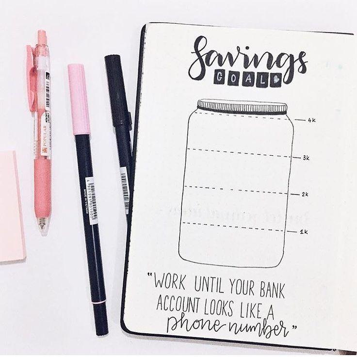736x736 Bullet Journal Savings Tracker, Jar Drawing. @the.journal.life