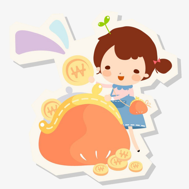 650x651 The Little Girl Counted Her Savings, Cartoon Hand Drawing, Lovely