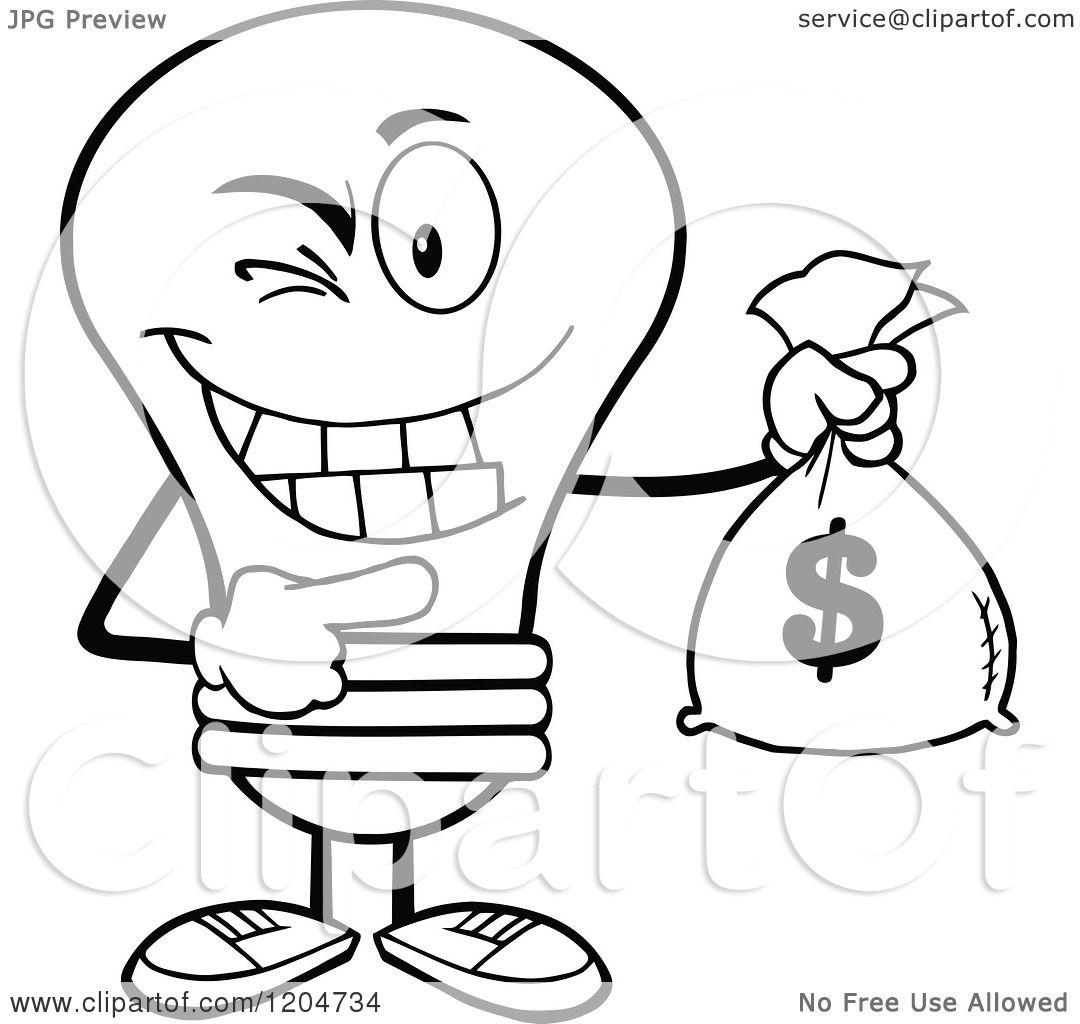 1080x1024 Cartoon Of Winking Blacknd White Light Bulb Mascot Holding