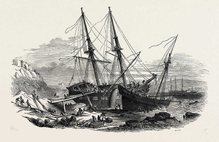 900x584 The Schooner Providence, And The Brig Hero Drawing By English School