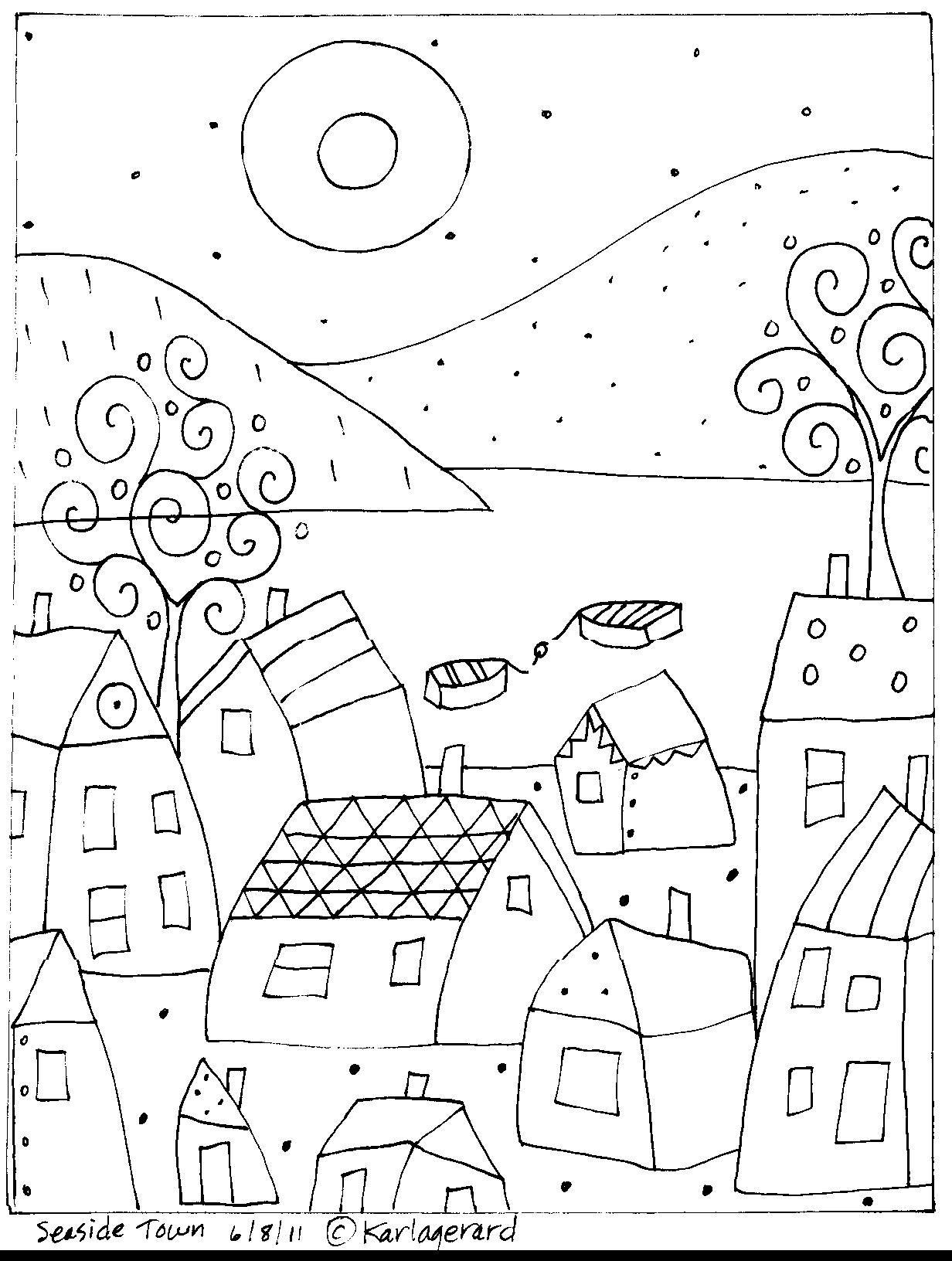 1232x1632 Rug Hook Craft Paper Pattern Seaside Town Folk Art Abstract Prim
