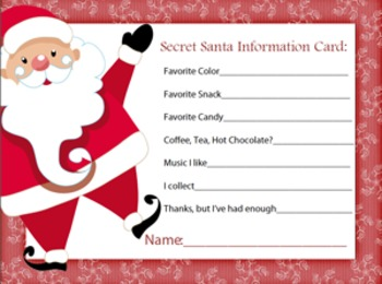 image regarding Secret Santa Questionnaire Printable named Top secret Santa Drawing Slips at  No cost for