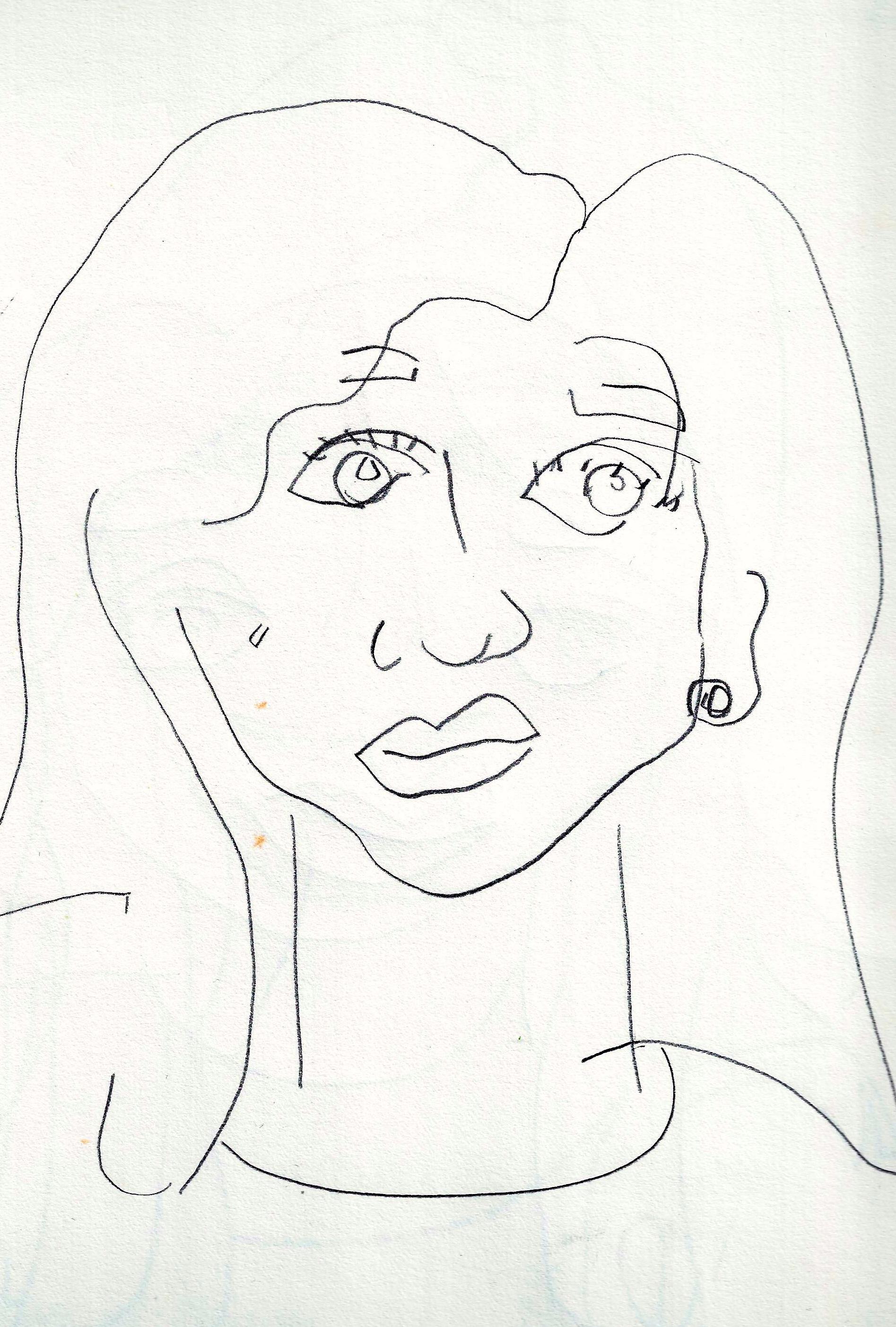 1895x2805 Self Portrait Line Drawing Blind Contour Line Drawing Self