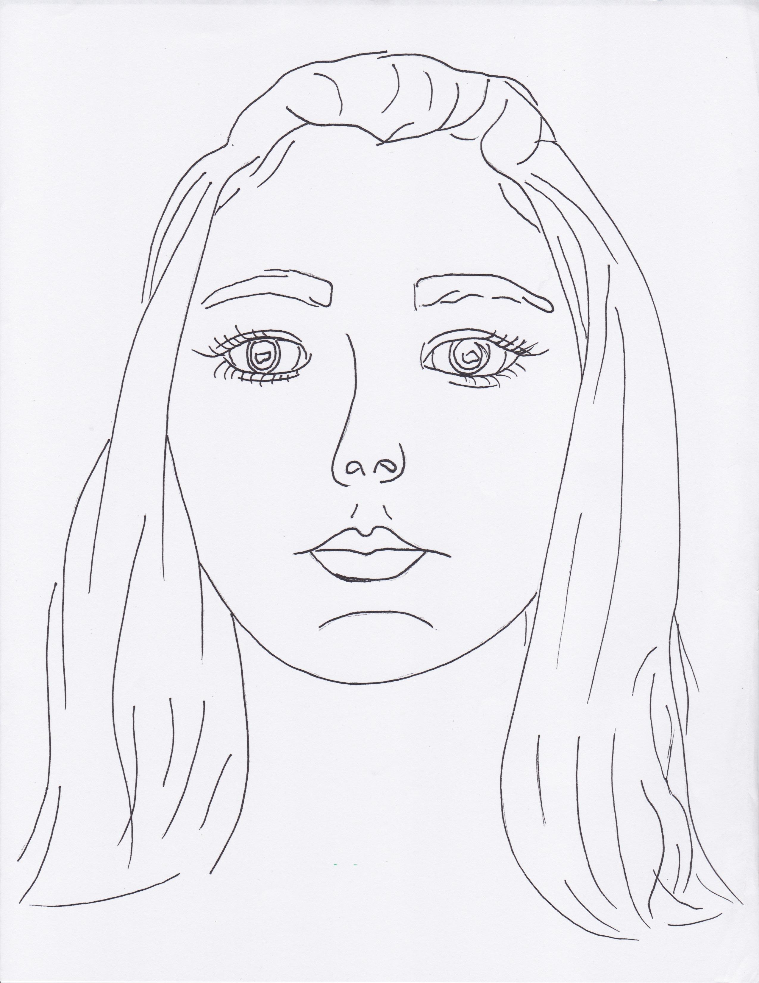 2550x3300 Self Portrait Line Drawing Simple Self Portrait Contour Line