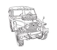 236x205 Land Rover 80 Serie One Cartoon Landrovers