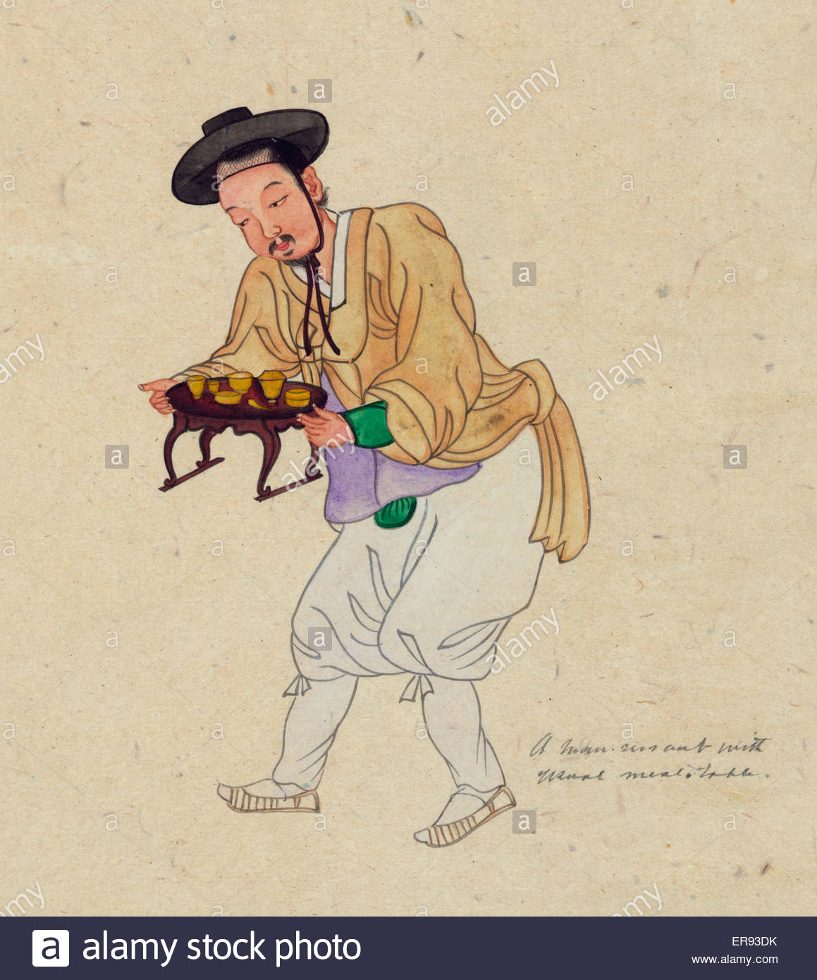 1159x1390 A Man Servant With Usual Meal Table. Drawing Shows A Male Servant