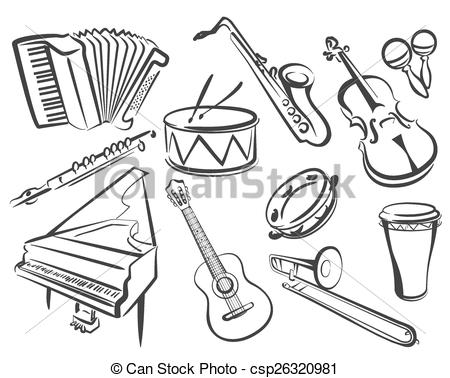 450x378 Pleasing Musical Instruments Drawings Set Of Icons In Simple Lines