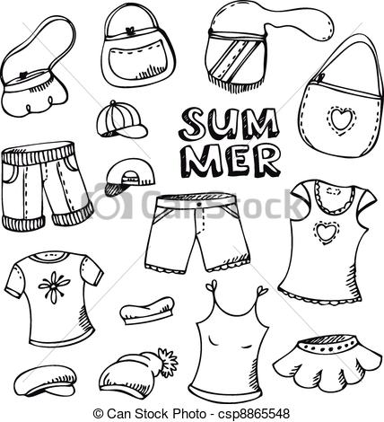 428x470 Summer Fashion Set. Summer Beach Fashion Clothing Set Isolated