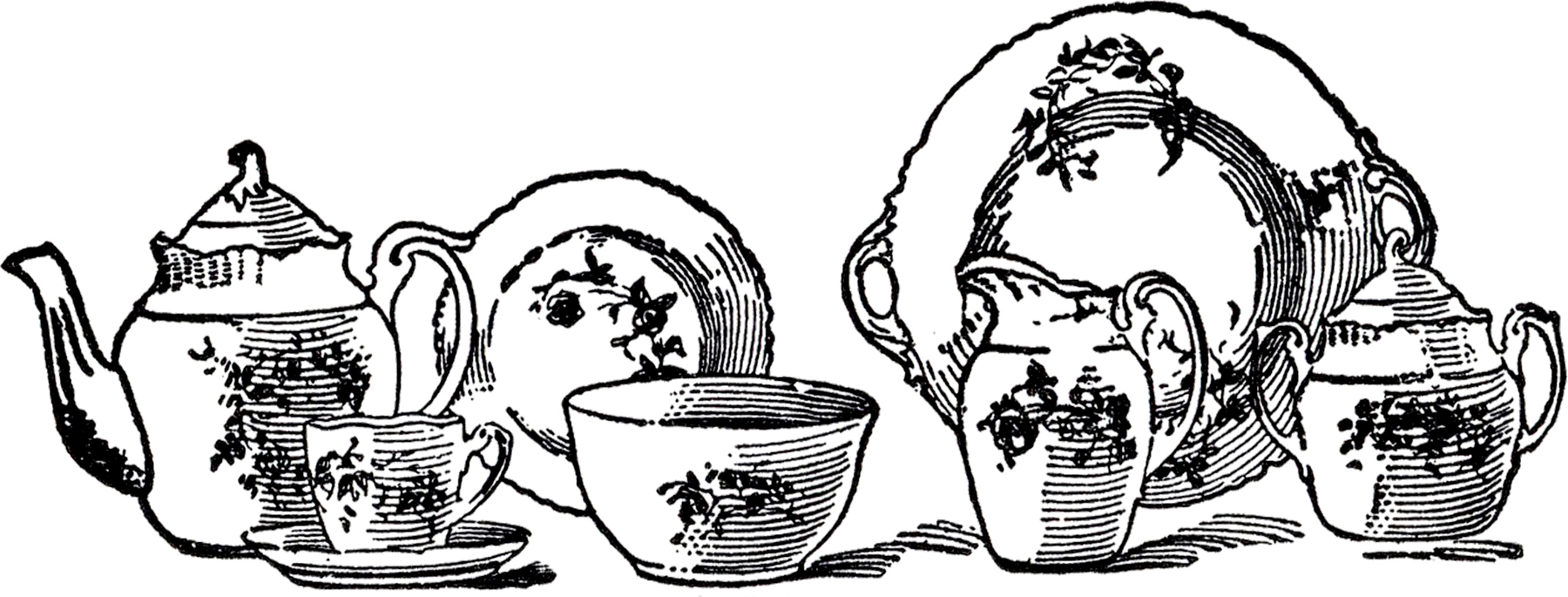 1800x685 Tea Set Clipart Drawing