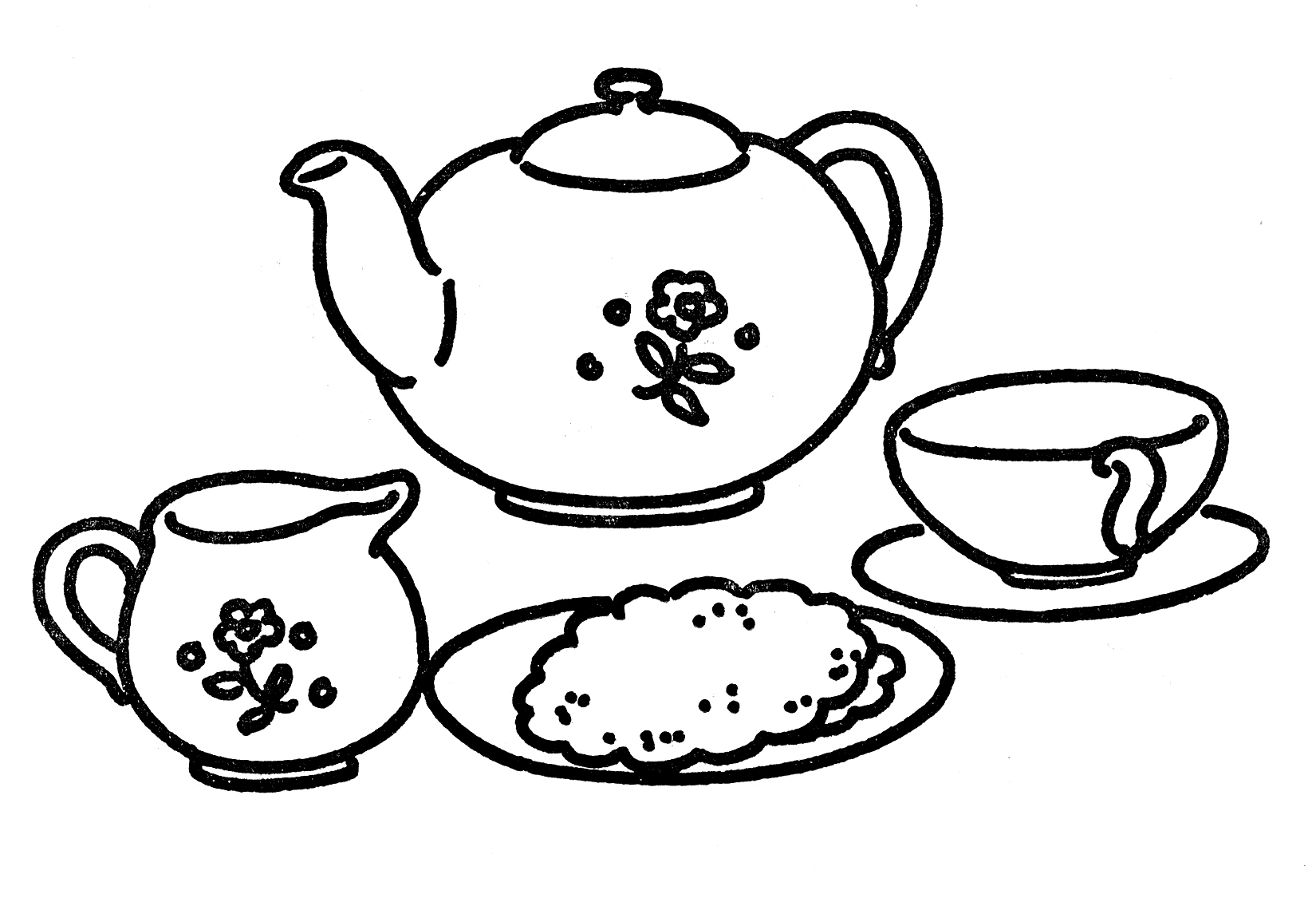1650x1125 Awesome Tea Set Coloring Page Design Printable Coloring Sheet