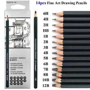 300x300 14pcs Sketch Drawing Pencil Set Sketching Art Kit In Carry Case