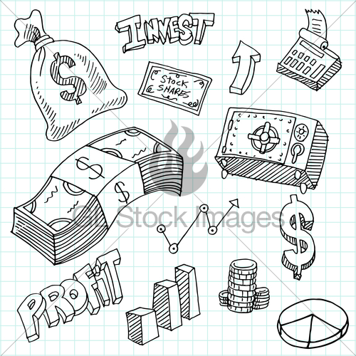 500x500 Financial Investment Symbols Drawing Set Gl Stock Images