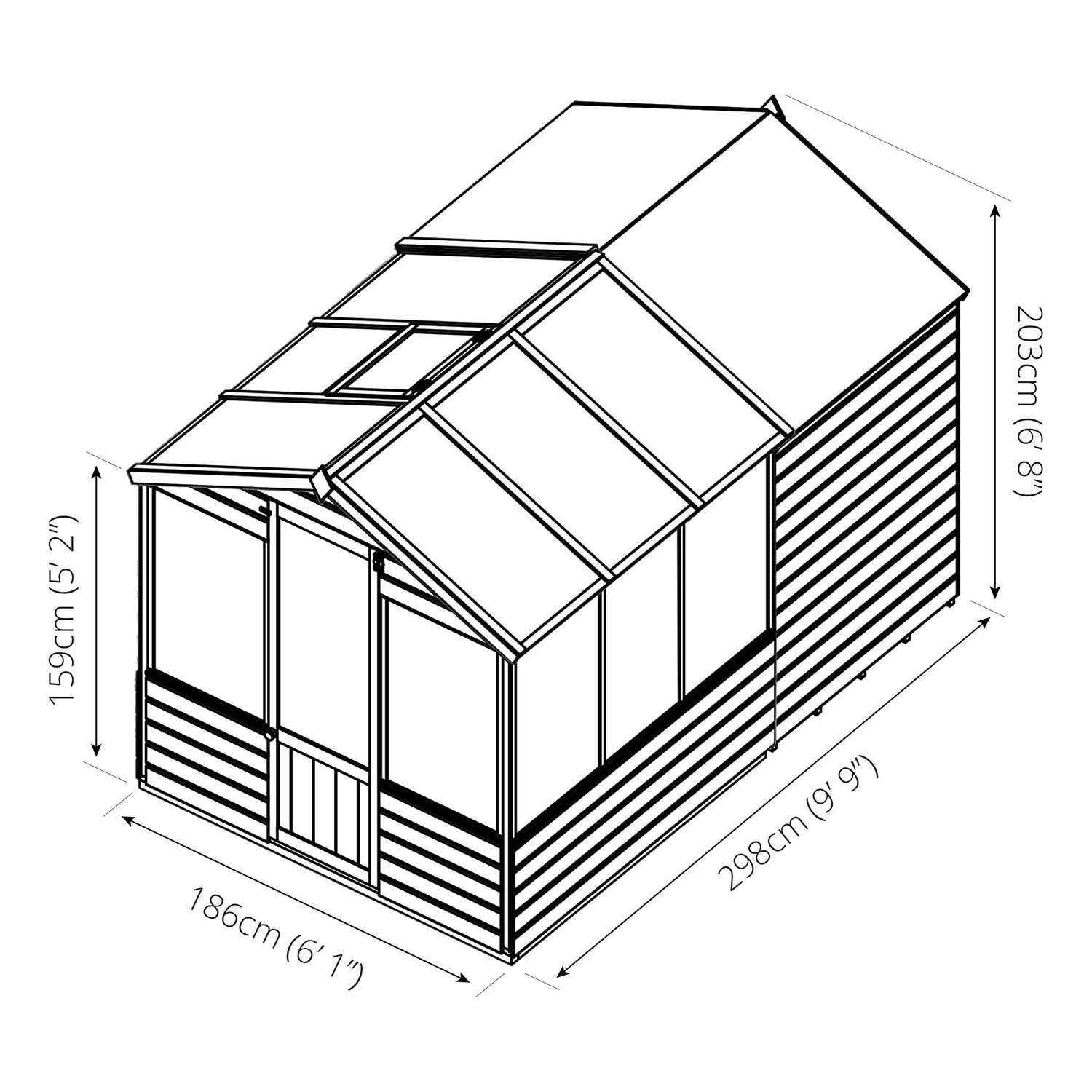 1500x1500 Winchester 10ft X 6ft Shiplap Combi Greenhouse With Shed Next