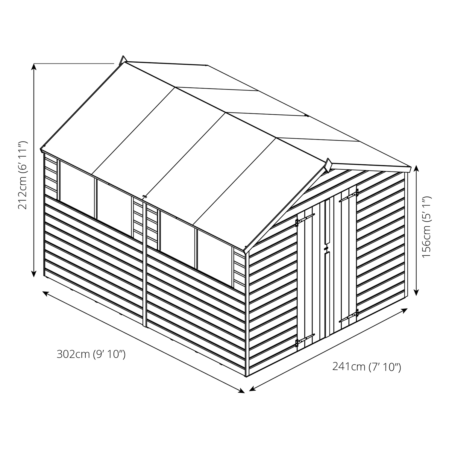 1500x1500 Winchester 10ft X 8ft Pressure Treated Shiplap Apex Shed Next