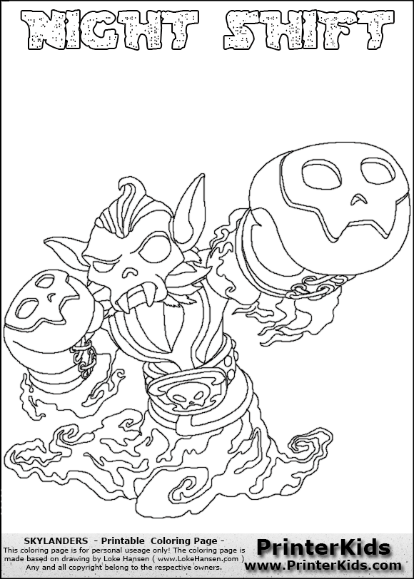 580x812 Skylander Swap Force Night Shift Coloring Pages