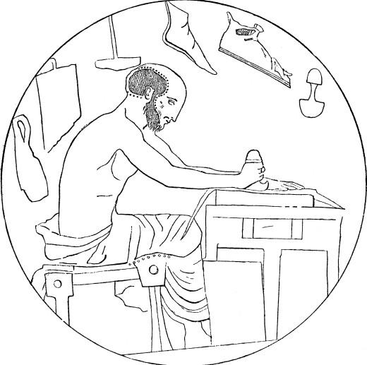 520x517 People, Professions, Shoemaker, Greek Shoemaker Working, Pottery
