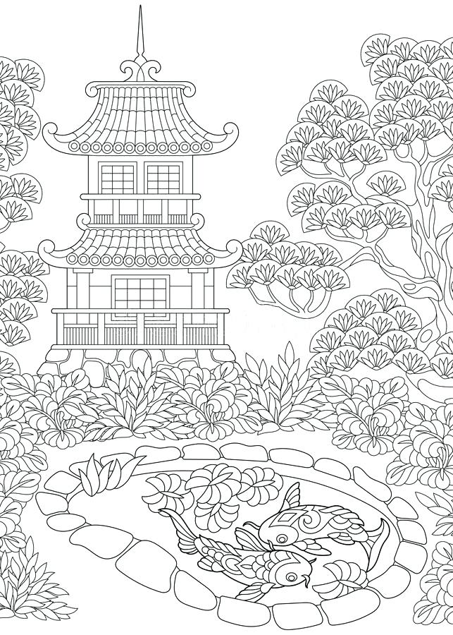 643x900 Japanese Temple Drawing Shrine Temple For Free Coloring Save It