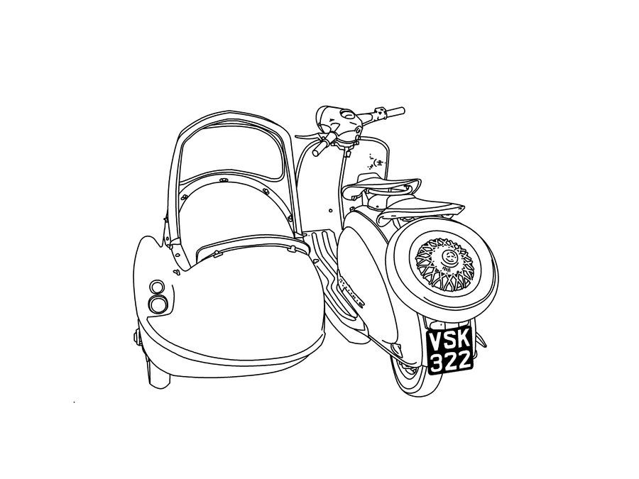 900x675 Image Result For Vespa Sidecar Drawing Drawing Shadows On