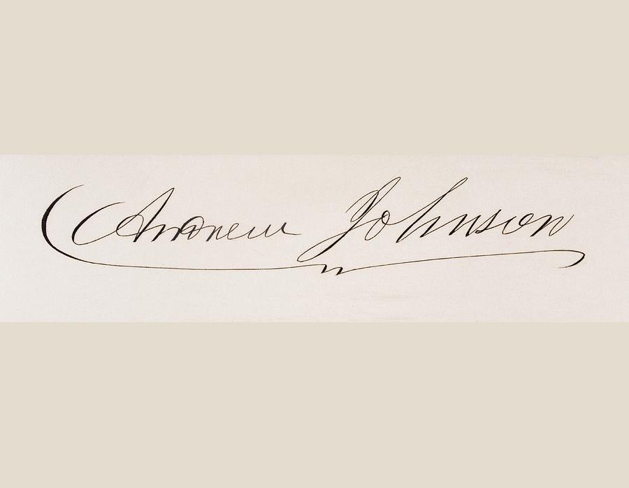 900x698 Signature Of Andrew Johnson 1808 To Drawing By Vintage Design Pics