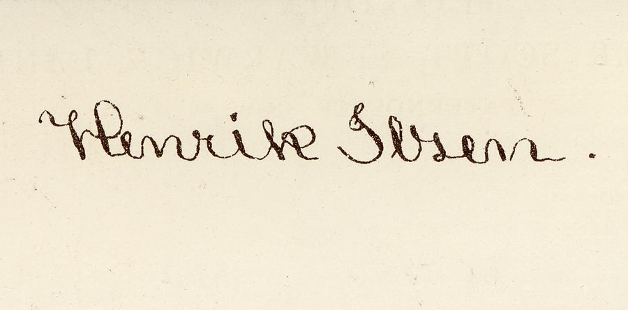 900x444 Signature Of Henrik Ibsen, 1828 1906 Drawing By Vintage Design Pics