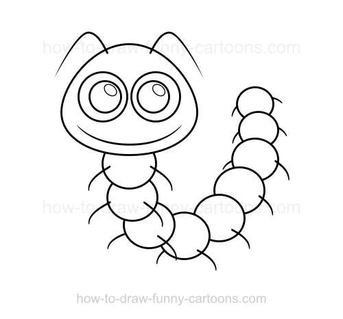 500x466 How To Draw A Caterpillar