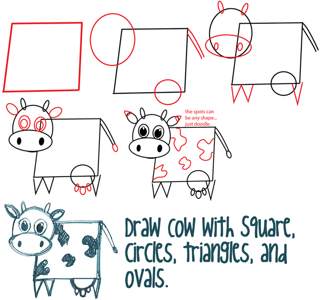 650x608 Big Guide To Drawing Cartoon Cows With Basic Shapes For Kids
