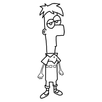 400x400 How To Draw Ferb From Phineas And Ferb For Kids Step By Step